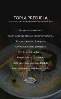 Restoran Dubrovnik Menu Topla Predjela