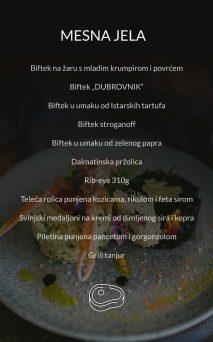 Restoran Dubrovnik Menu Mesna Jela